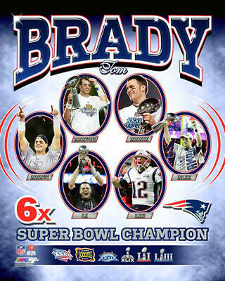 Tom Brady 6-TIME SUPER BOWL CHAMPION Historic New England Patriots ... 2a5612102