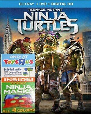 TEENAGE MUTANT NINJA TURTLES Blu-ray + DVD 2014 Film + Earbuds and 2 Masks TMNT