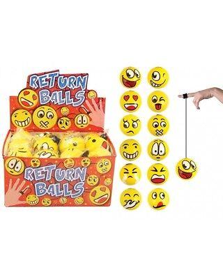 Wholesale Job Lot 48 Emoji Return Balls Boys Girls Kids Toys