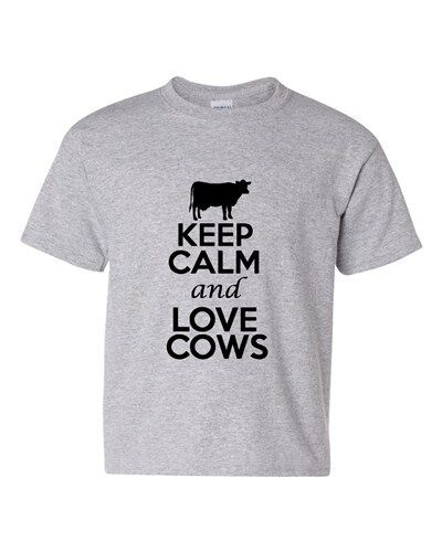 Keep Calm And Love Cows Livestock Novelty Statement Youth Kids T-Shirt Tee