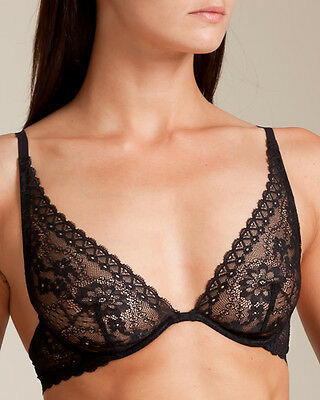 La Perla Studio Rosa 38B L Triangle Bra Brief Panty Set Black New