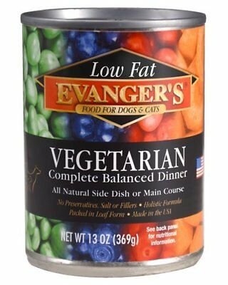 Evanger's Low Fat Vegetarian Dinner Canned Dog & Cat Wet Food 13 Ounce pk of 12