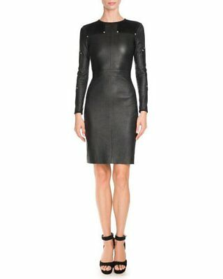 Givenchy Studded Leather Long-Sleeve Black Dress In 38