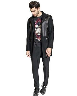 John Richmond Leather & Wool Jacket RRP £1525 EU48 Medium Lambskin Black coat
