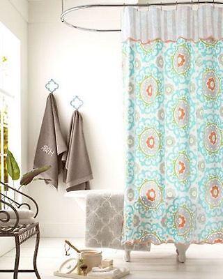 (Garnet Hill Shower Curtain - 100% Cotton Fabric - Medallion Print Valance )