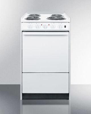 "20"" Wide Slide-In Style Coil-Top Electric Range in White"