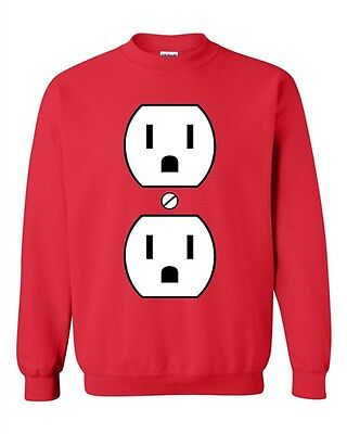 Plug Outlet Face Party Costume Funny Humor DT Novelty Crewneck - Costume Outlet