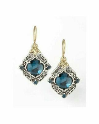 925 Silver Sapphire Earrings 18K Gold Filled Ear Hook Dangle Women Jewelry Gift