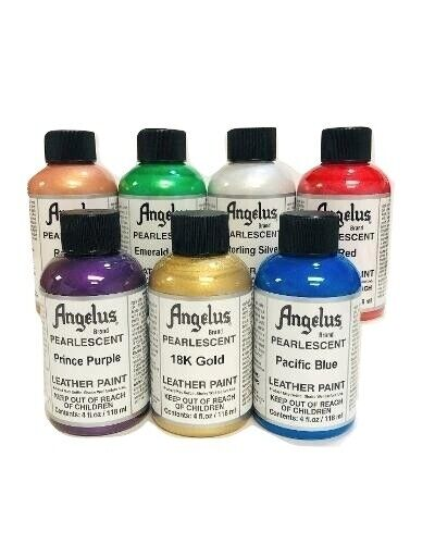 Angelus Pearlescent Acrylic Leather Paint Complete 4 oz Kit