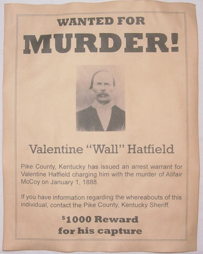 Valentine Wall Hatfield Wanted Poster, Hatfields McCoys