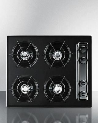 24 wide cooktop in black, with four burners and gas spark ig