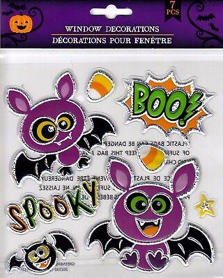 Halloween Window Cling Stickers 7 Count ~ Bats & Spooky BOO!  (Halloween Windows 7)