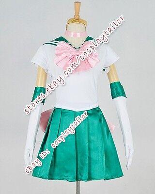 Sailor Jupiter Halloween Costume (Sailor Moon Serena Lita Kino Jupiter Cosplay Green Party Dress Costume)