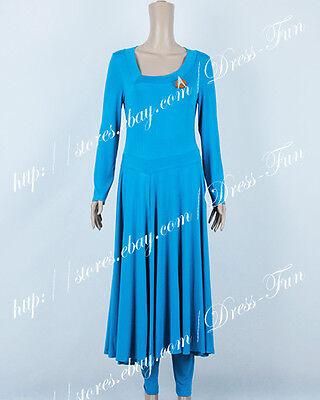 Star Trek Commander Deanna Troi Cosplay Costume Blue Lady Dress Halloween Party - Star Trek Halloween Party