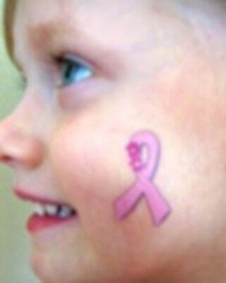 Breast Cancer Awareness Pink Ribbon Flower Temporary Tattoo Body Art 3pc set New - Pink Ribbon Tattoo