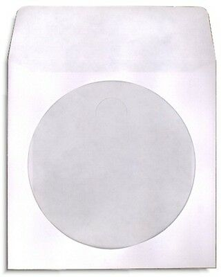 1000-pak White Paper Cd Sleeves With Window Flap 100gram