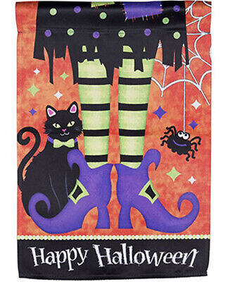 Happy Halloween Flag, Witch Legs & Black Cat Garden Flag 12 x 18 w/ Spider Web](Happy Halloween Happy Halloween)