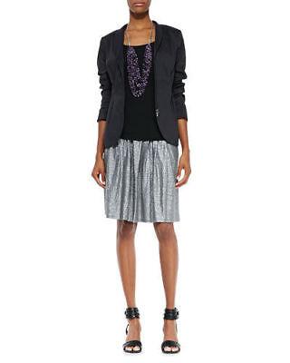 SZ L Eileen Fisher Ash Organic Linen Jersey Shimmer Pleated K/L Skirt $228 NWT