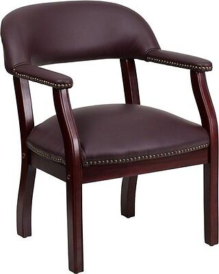 Burgundy Leather Luxurious Conference Chair Office Home - Office Side Chair
