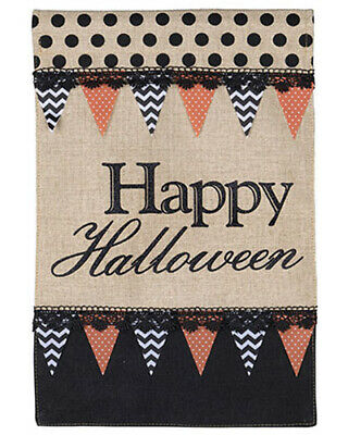 Happy Halloween Black Witch (Happy Halloween Burlap Garden Flag 12 x 18,Black Orange Witch Halloween)