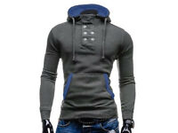 Double Breasted Hooded Pocket Hemming Cotton Blend Long Sleeve mens Hoodie (XS)