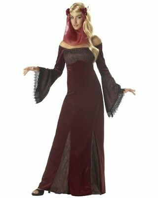 Teen Renaissance Costumes (New Womens Teens Deep Red Medieval Renaissance Maiden Halloween Costume One)