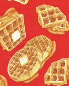 Waffles-Breakfast-Fabric-Red-Morning-Restaurant-Diner-NEW-Benartex-Cotton