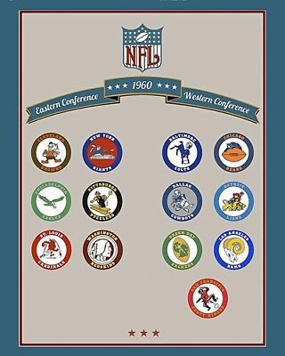 1960 NFL Football Team Logos  Color 8 X 10 Photo -