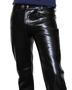 09b12acbba73c9 Mens Leather Jean Pants
