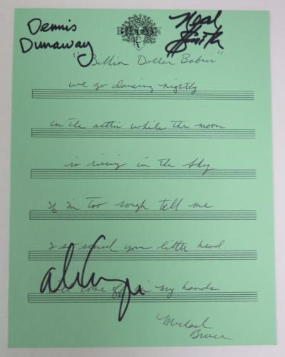 "ALICE COOPER BAND Signed Autograph ""Billion Dollar Babies"" Handwritten Lyrics x4"