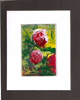 Red Roses Abstract Miniature 4x5 with mat Painting flowers Floral Penny StewArt