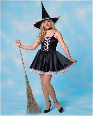 Pink And Black Witch Costume (Witch Costume Adult 2 Pc Sweet Sexy Black / Pink Corset Style Dress W/ Hat OS)