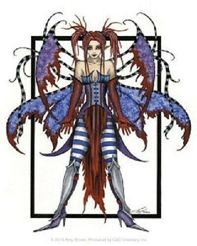 Amy Brown Sticker Decal BEDLAM Fairy Faery Punk Goth Red Blue Wings Fantasy Art