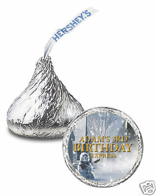 108 The Polar Express Movie Birthday Party Favor Personalized Kisses Labels - Polar Express Party Supplies