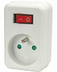 Adaptateur de prise avec interrupteur 1 prise