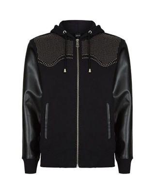 Just Cavalli Black Studded Zip-up Hooded Sweatshirt Hoodie Size M £350