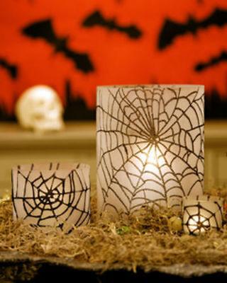 3 Large GRANDIN ROAD MARTHA STEWART Spider Web Glass Halloween Candle Holders](Grandinroad Halloween)