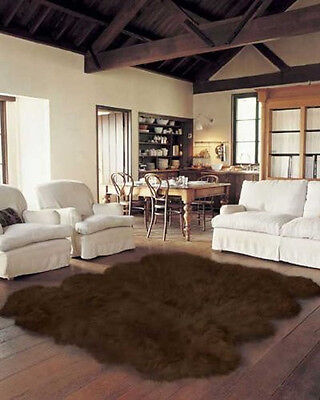 - Genuine Real Australian Sheepskin  Rug Octo,  Brown