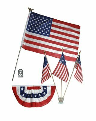 USA Patriotic Flag Home Decorating Kit (3x5 Flag-Poles-Mount-Stick-Bunting) ()