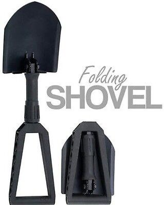Folding Shovel Camping Backpacking Tool Entrenching Tri-Fold Black w/ Pouch