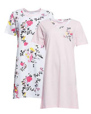 2x Nachthemd - Gr. 36/38 - rosa/weiß - Blütendruck - Bigshirt - Pyjama ()