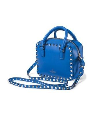 NWT Authentic VALENTINO Made In Italy Blue Leather Mini Rockstud Shoulder Bag