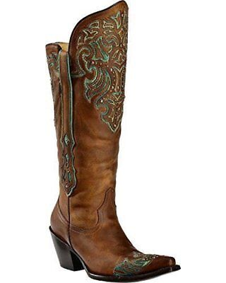 Turquoise Tall Shoes - CORRAL Women's Tall Turquoise Studded Wingtip Cowgirl Boot Round Toe G1182