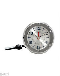 "VIP TIME ITALY AC-C Table/ TRAVEL ALARM Clock, 2""x2"" (53mm), Silver Base Metal"