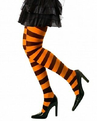 Black and Orange Striped Tights Halloween Hosiery XL Plus Size Fancy Dress 16-20