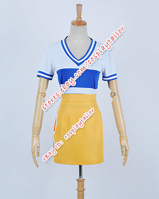 One Piece Anime Halloween Costumes (One Piece Cosplay Anime Nami Plain Dress Costume Shirt Yellow Skirt Halloween)