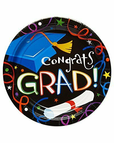 American Greetings Congrats Grad 8 Count Dessert Round Plate, Black