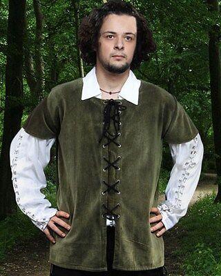 Medieval Vest Mens Velvet Black Brown Green Sizes S/M-XXL Drawsting Eyelets NEW