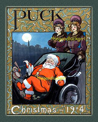 1904 CHRISTMAS Santa Vintage Puck Magazine cover 8x10 Frank Nankivell Art print ()