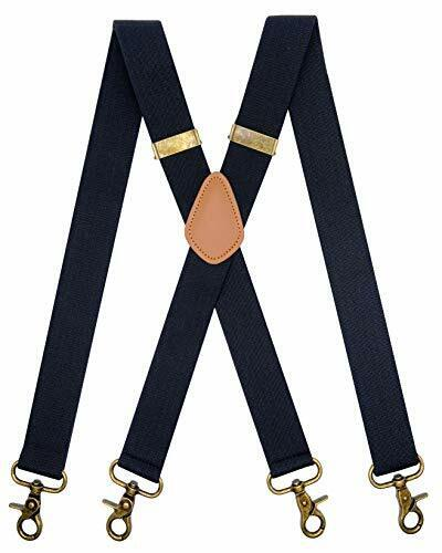Vintage Suspenders For Men 4 Snap Hooks For Belt Loops Adjustable X Back